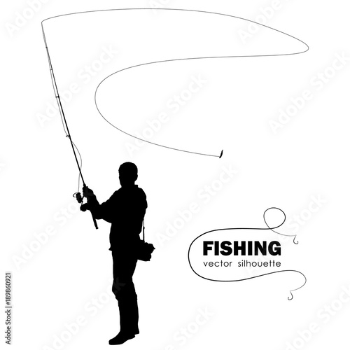 Isolated silhouette of fisherman. Fisher throws spinning