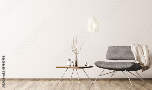 Fototapeta  Interior with armchair and coffee table 3d rendering