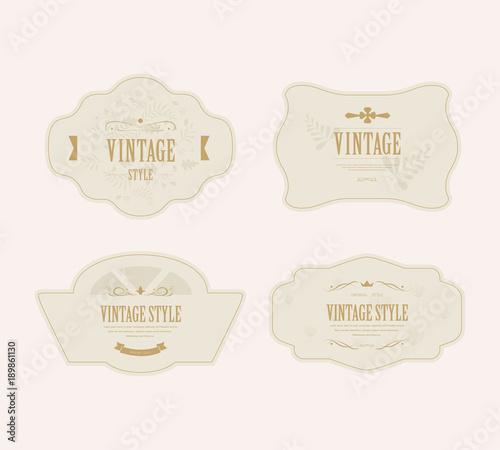 Fototapety, obrazy: set of vintage label and old fashion classic design. illustration vector.