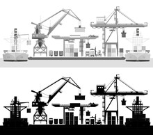 Sea Trade Port, Commercial Dock, Vector, Silhouette