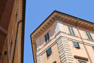 Fototapeta na wymiar Sky with silhouettes of roofs