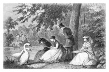 Three Young Women, Dilettante Artists, Sketch Open Air Sitting On The River Edge, Followed By A Teacher And Two Swans, Vintage Engraving