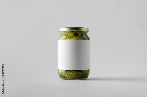 Pickled Cucumber Jar Mock-Up. Blank Label.