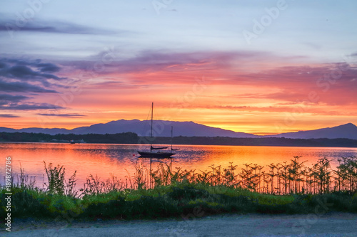 Amazing sunset at Loch Linnhe with Shuna Island and Ardnamurchan in background, Tablou Canvas