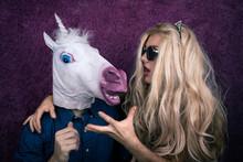 Portrait Of Happy Unicorn In T...