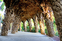 Stone Archway In Park Guell Ba...