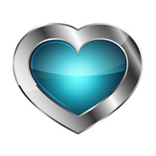 Silver Heart Icon. Vector Illu...