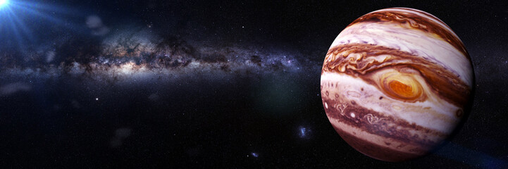 Fototapeta samoprzylepna planet Jupiter, the Sun and the Milky Way galaxy