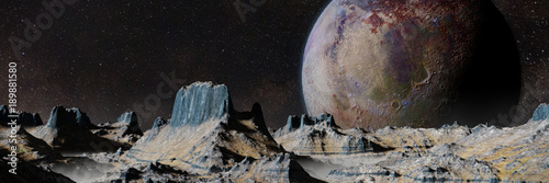 Fotomural scenic alien planet landscape at night