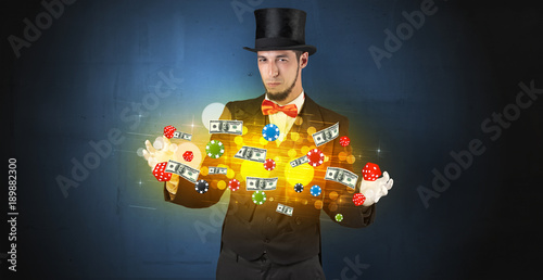 Poster  Illusionist conjure with his hand gambling staffs