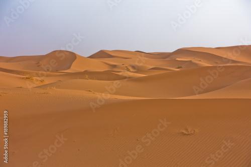 Poster Afrique Sand dunes in Erg Chebbi at sunrise, Sahara desert, Morocco, Africa
