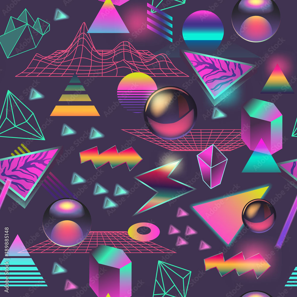 Synth Wave Seamless Pattern. Futuristic Background with Neon Glowing Geometric Elements. Holographic Design for Posters, Banners, Fabric. Vector illustration