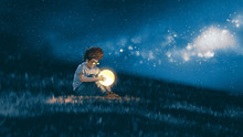 Night Scene Showing Young Boy With A Little Moon In His Hands Sitting On Meadow, Digital Art Style, Illustration Painting