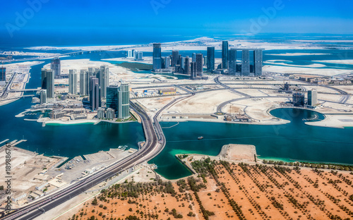 Spoed Foto op Canvas Abu Dhabi Aerial view of maryah island in Abu Dhabi