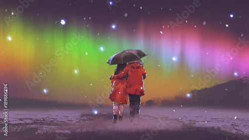 para w czerwonym płaszczu pod parasolem chodzenie po śniegu, patrząc na zorzę polarną na niebie, cyfrowy styl sztuki, malarstwo ilustracyjne