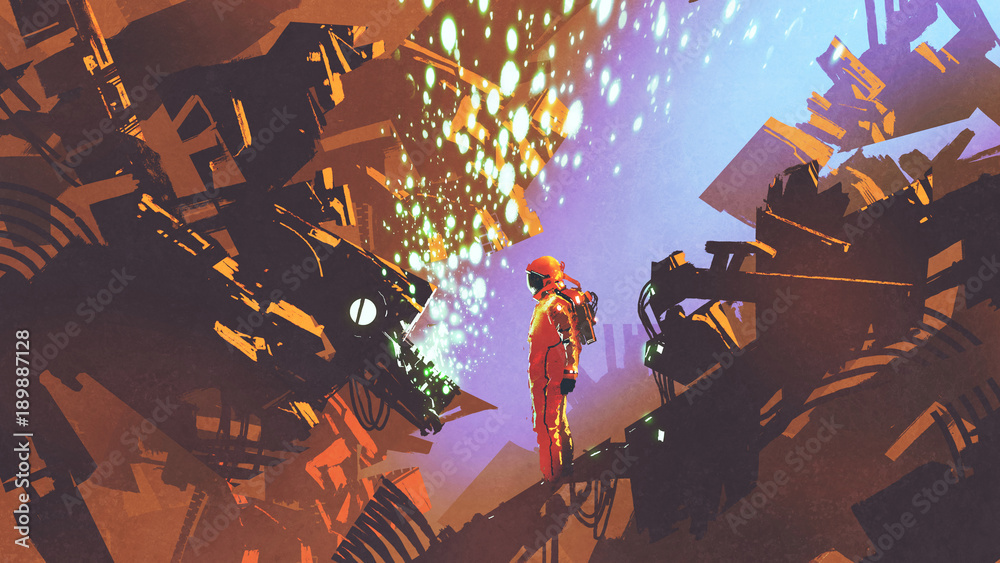 Fototapety, obrazy: sci-fi scene of astronaut standing in front of control panel in futuristic factory, digital art style, illustration painting