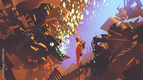 sci-fi scene of astronaut standing in front of control panel in futuristic factory, digital art style, illustration painting