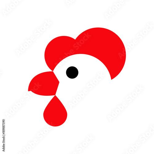 Fotografía Logotipo cabeza de gallina en fondo blanco