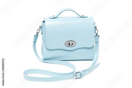 Blue fashion purse handbag on white background isolated Wallpaper Mural