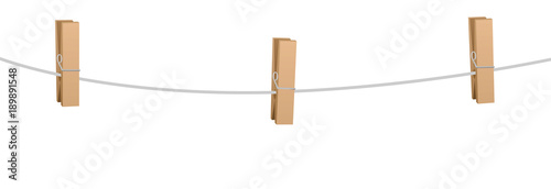 Fotografie, Obraz  Three clothes pins on a clothes line rope - wooden pegs holding nothing