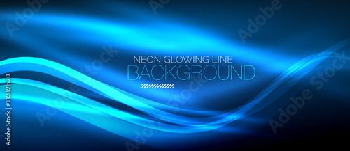 Fototapeta Neon blue elegant smooth wave lines digital abstract background obraz