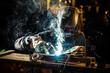 Leinwandbild Motiv Welder working at the factory made metal