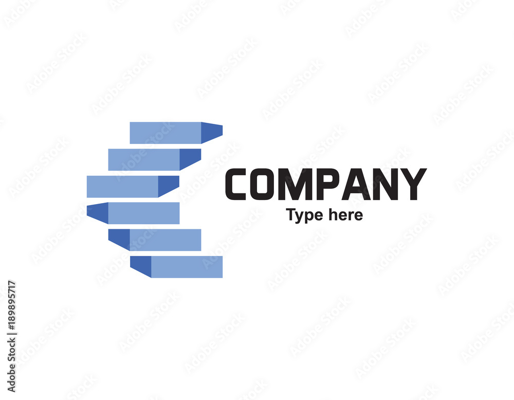 Fototapeta Stairs blue logo