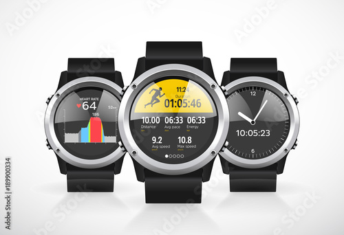 Fotografia  Sport smartwatch for runners - mobile application