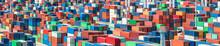 ISO Containter Im Containerterminal Bereit Zum Verladen
