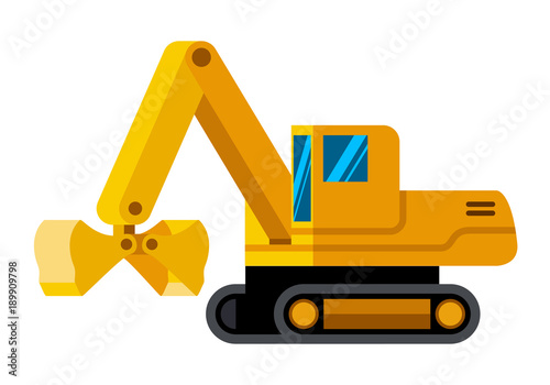 Clamshell bucket tracked excavator minimalistic icon isolated Tapéta, Fotótapéta