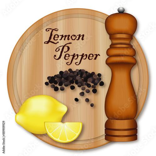 Fotomural Lemon Pepper, popular seasoning made from lemon zest and cracked peppercorns, dark wood pepper mill, wood cutting board