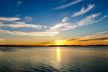Lake Sunset In Oklahoma.