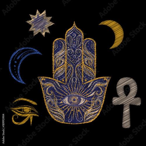 Embroidery Patch Set With Egyptian Symbols Hamsa Ankh Moon Star