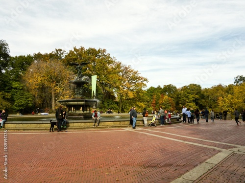 Bethesda Fountain in the Central Park in NYC Poster