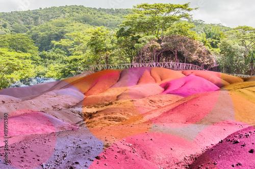 les terres de couleurs de Chamarel, île Maurice Canvas-taulu
