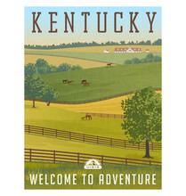 Kentucky, United States Retro Travel Poster Or  Sticker.  Scenic Farm Landscape With Rolling Hills, Horses And Fences And Stable. Vector Illustration.