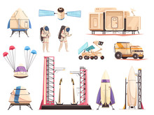 Space Research Technology Icons Set