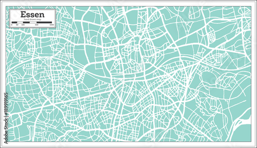 Canvas Print Essen Germany City Map in Retro Style. Outline Map.