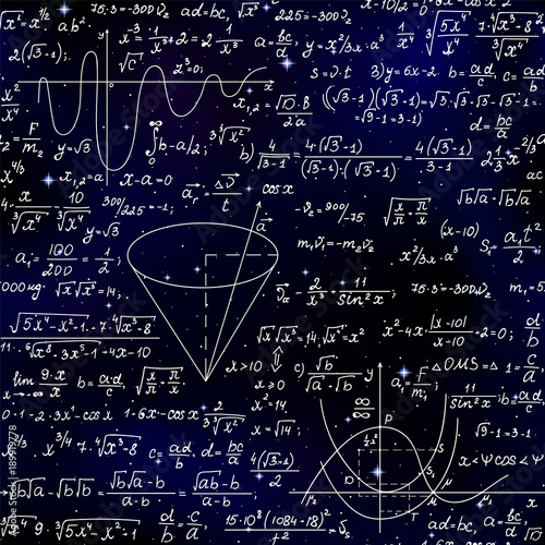 Photo Mathematical vector endless seamless pattern with formulas, figures and calculations handwritten on the background of stars