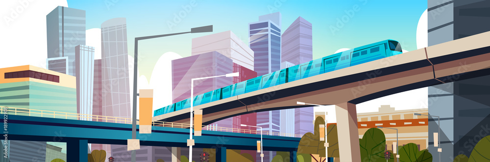 Fototapety, obrazy: Modern Urban Panorama With High Skyscrapers And Subway City Background Horizontal Banner Flat Vector Illustration
