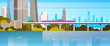 Modern Urban Panorama Subway Train Over River Or Lake City Skyscrapers Background Flat Vector Illustration
