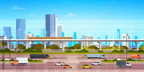 Fotomural Cityscape Background Modern City Panorama With Highway Road And Subway Over Skys