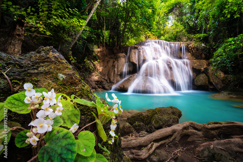 Fotobehang Diepbruine Waterfall in Thailand, called Huay or Huai mae khamin in Kanchanaburi Provience