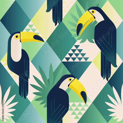 Exotic beach trendy seamless pattern, patchwork illustrated floral vector tropical leaves. Jungle toucan. Wallpaper print background mosaic.