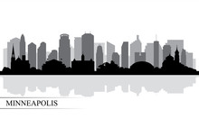 Minneapolis City Skyline Silhouette Background