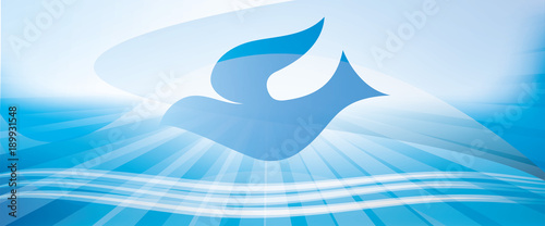Leinwand Poster Web banner christian baptism concept with dove and waves of water