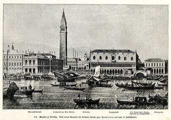 Panel Szklany Miasta Piazzetta and Riva degli Schiavoni, Venice; by Canaletto, between 1730 and 1740(from Spamers Illustrierte Weltgeschichte, 1894, 5[1], 483)