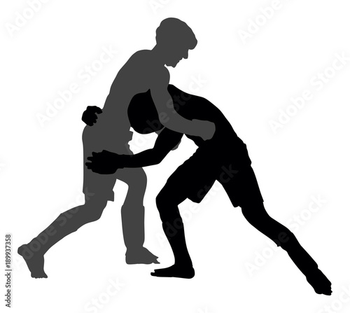 Fotografía Two mma fighters vector silhouette illustration isolated on white background