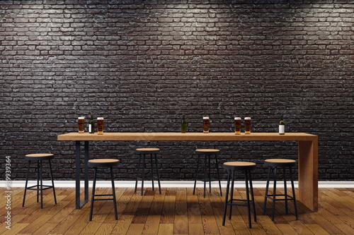 Obraz Creative black bar interior - fototapety do salonu