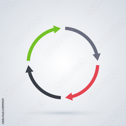 Foto Round cycle template with four segments in elegant business style on white background
